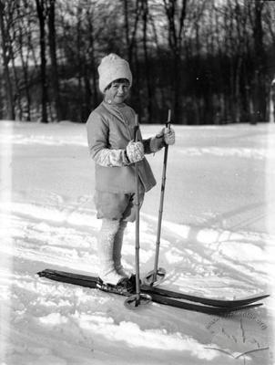 Boy on a ski walk in Lviv park