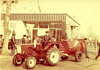 """Trailed sprayer of """"Lvivsilmash"""" production in front of a checkpoint"""