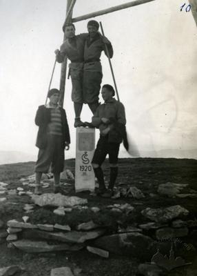 Border-marking stone at the summit of the Hoverla