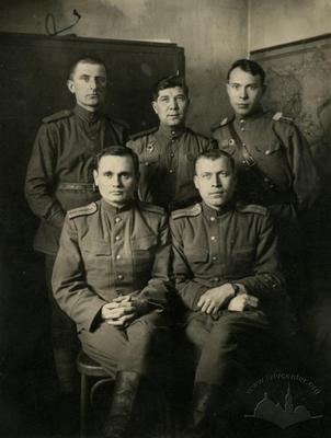 Officers of the the artillery in the headquarters building