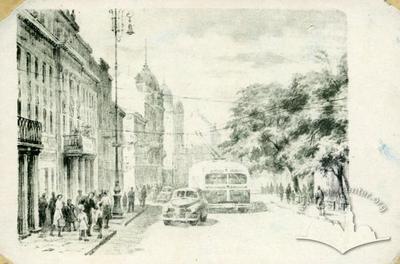 Trolleybus on Lenina avenue (Svobody avenue now)