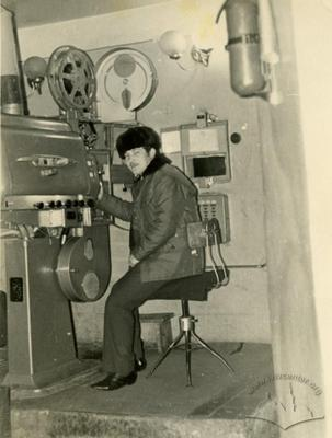 "Projectionist in ""Pioner"" cinema Stepan Mudryk in projection room"