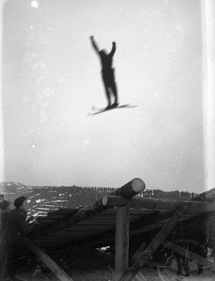 Jump from a ski springboard in Kaizervald