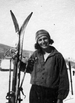 Skier at winter walk in Vorokhta