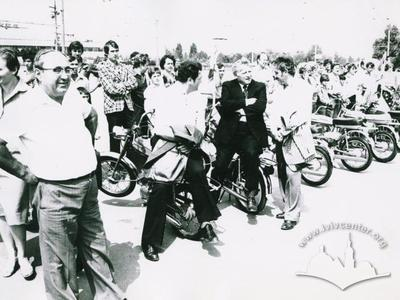 "Exhibition of ""Verkhovyna"" mopeds at Lviv motor plant"