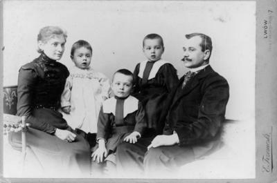 Portrait of a married couple with three children