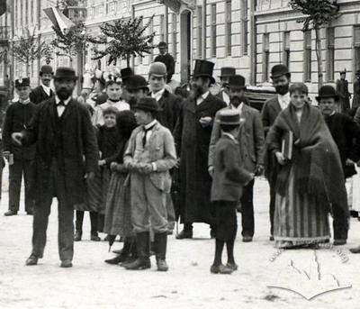 Group of people on Mitskevycha street