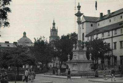 St. Jan of Dukla column in the public garden in front of Bernardine church