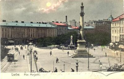 Horse Drawn Tram near Mickiewicz Monument