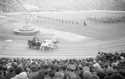 "Theatrical composition at ""Druzhba"" stadium on the occasion of the opening ceremony of the festival of Soviet-Czech friendship"