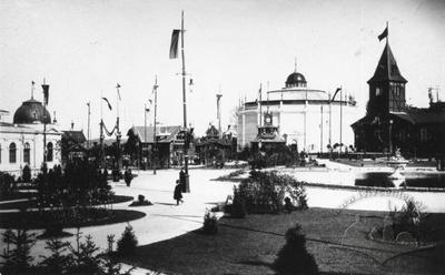 Main square of the General Regional Exhibition, rotunda of Raclawice panorama in the center