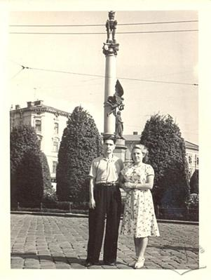 Young Couple near Monument to Adam Mickiewicz