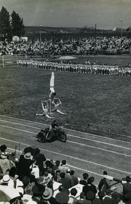 Театралізований виступ гімнастів на стадіоні СКА під час спортивного свята