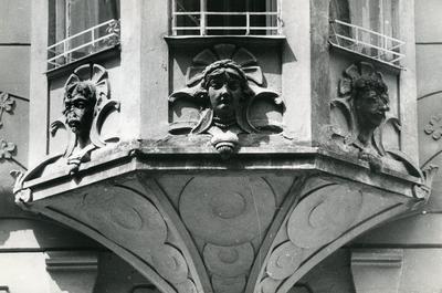 Masks on the erker at 126 Franka St.