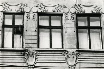Windows on the façade at 84 Franka St.