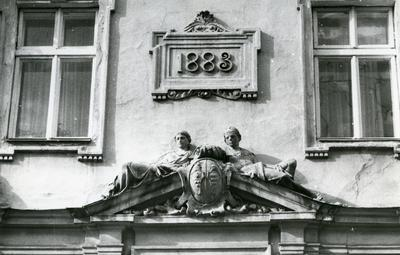 Scupltures on the façade at 2 Franka St.