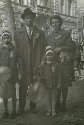 Family at a parade