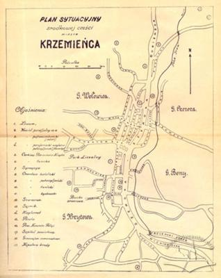 Schematic map of the streets of Krzemieniec
