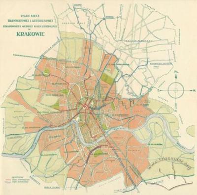 План трамвайної та автобусної мережі та краківської міськоїелектричної колії в Кракові