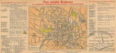 Map of the City of Krakow with special emphasis on post and telecommunications networks