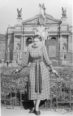 Woman in front of Opera Theatre