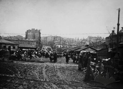The Jewish market on the Halytska (now Peremohy) square