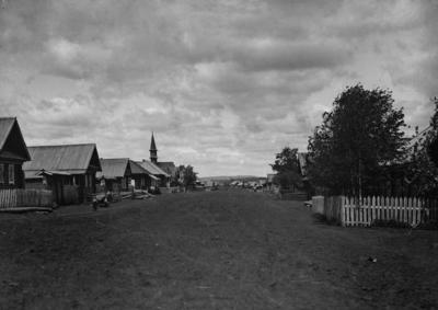 One of the streets of the settlement on the Trukhaniv island