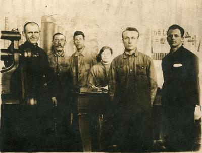 Workers of the experimental shop. Lower Dnieper Pipe Rolling Plant