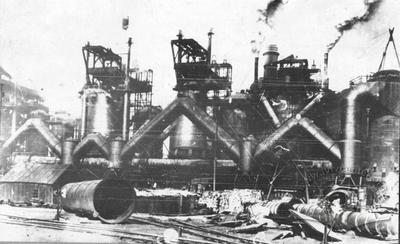 General view of the blast furnaces
