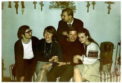 Poet Ihor Kalynets with friends in Bohdan Soroka's apartment