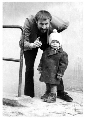 Painter Valeriy Hnatenko with his son Nazar
