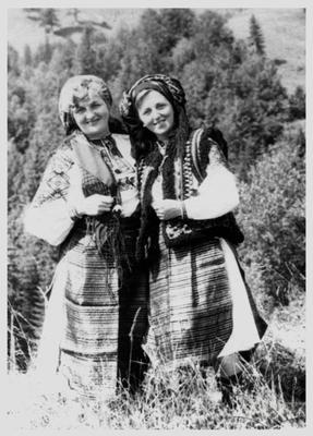 Women in Hutsul clothing, from the right - Atena Volytska (Pashko)
